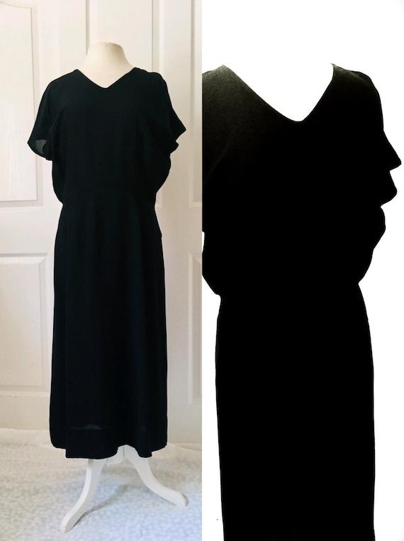1940s 50s Semi Sheer Black Dress