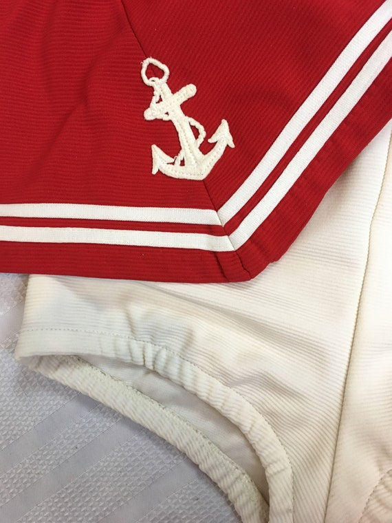 1960s Sailor Bathing Suit Natical Red and White T… - image 6