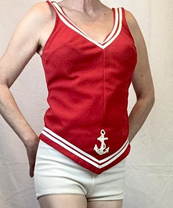 1960s Sailor Bathing Suit Natical Red and White T… - image 3