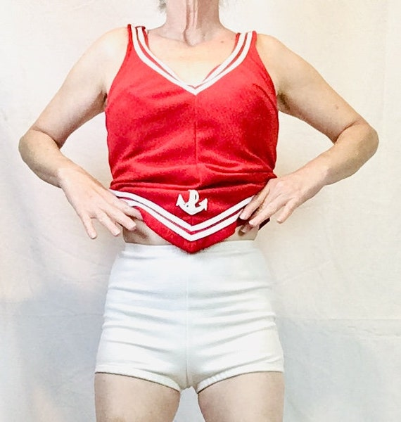 1960s Sailor Bathing Suit Natical Red and White T… - image 7