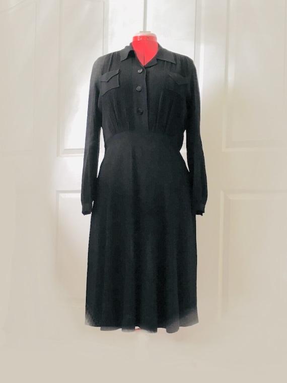 1940s Black Rayon Pintuck Dress
