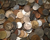 one half pound foreign and US coins 15 dollars off many over 90 years old silver included
