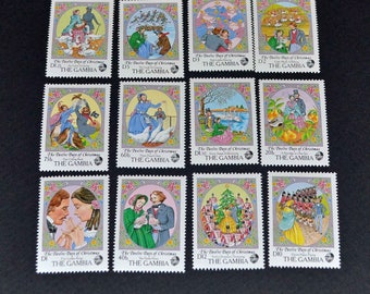 12 gambia stamps of christmas mint
