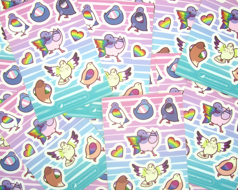 Pride Pigeon Stickers  LGBT Pride  Cute Stickers  Pigeon Stickers  Trans  Ace Bisexual  Nonbinary  Genderqueer  Gay Pride Stickers