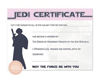 instant download star wars jedi certificate princess leia star wars birthday jedi darth vader