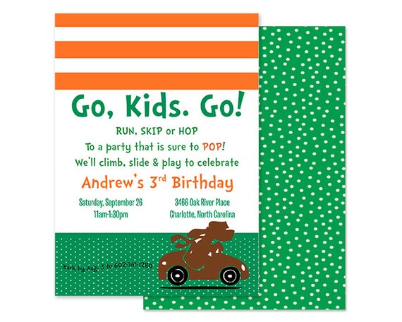 Dr. Suess-Go, Dog. Go Inspired Birthday Invitation, Orange and Green, Custom Printable