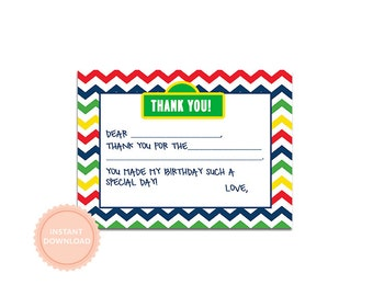 INSTANT DOWNLOAD, Sesame Inspired Thank You Fill-In Note, Flat 4x6 Thank You Notes