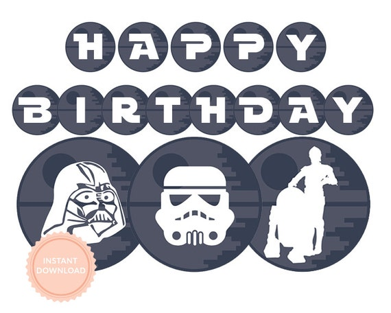picture about Stormtrooper Printable identify Instantaneous Down load Star Wars Pleased Birthday Banner (Star Wars