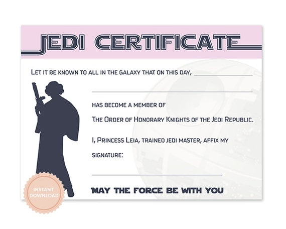 INSTANT DOWNLOAD Star Wars Jedi Certificate Princess Leia Birthday Darth Vader
