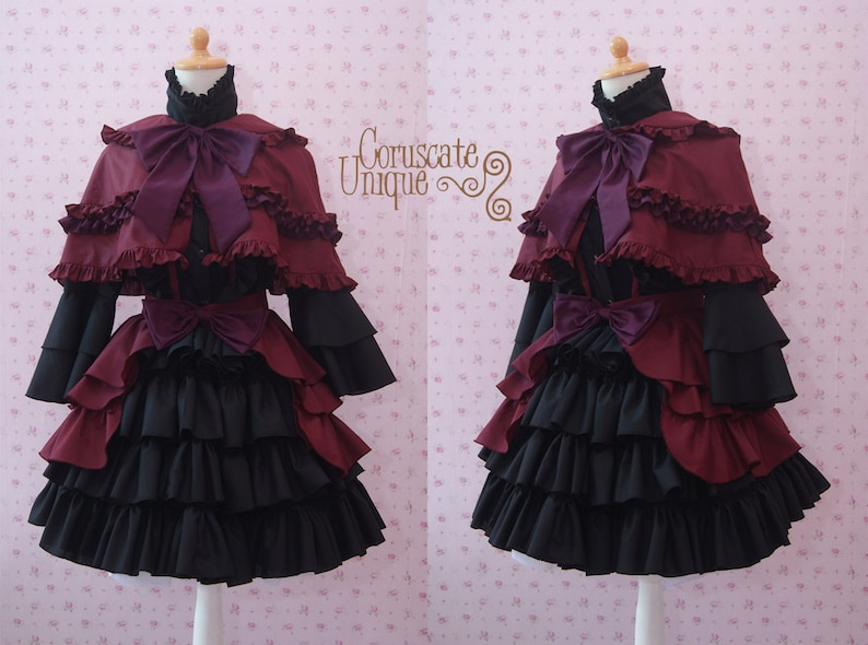 10999d184258 Black Maroon Gothic Two Pieces Lolita Dress With Capelette