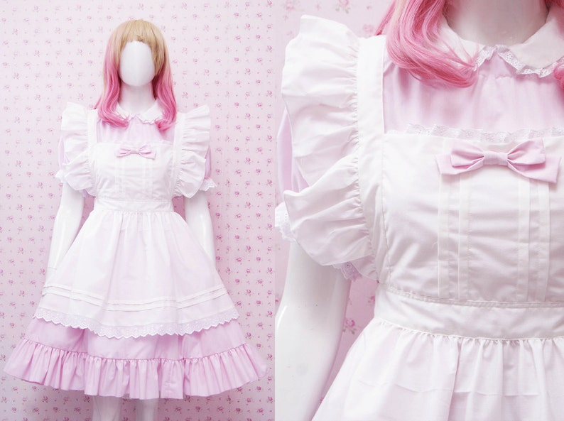 4aa01bc502ca Kawaii Soft Pink Cotton Maid Dress And White Apron in Simple