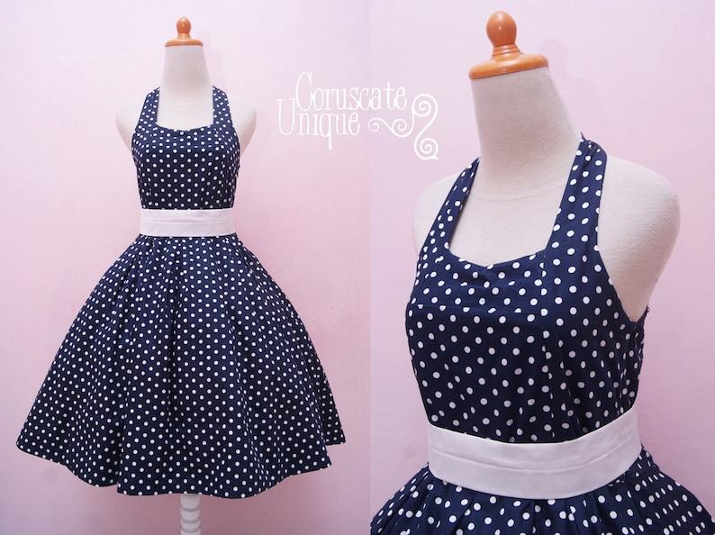 6bb1d0d4847 Navy Blue Polka dot Dress Halter Swing Rockabilly Retro
