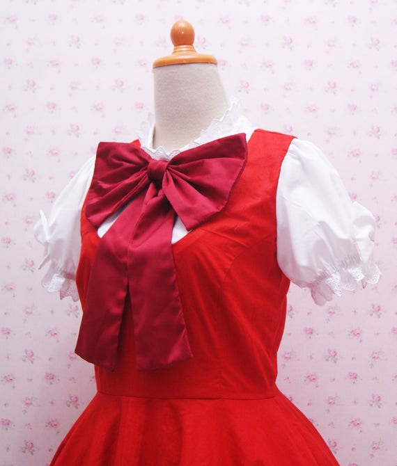 vif et grand en style qualité authentique remise spéciale Robe rouge Cosplay Costume inspiré d'assez rouge robe Simple avec gros  ruban rouge et de dentelle d'or - Anime Cardcaptor Sakura