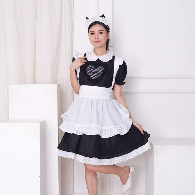 Classic Black And White Maid Set Dress With Apron And Cat Headpiece Custom In Your Color Scheme And Size Maid Dress And White Apron