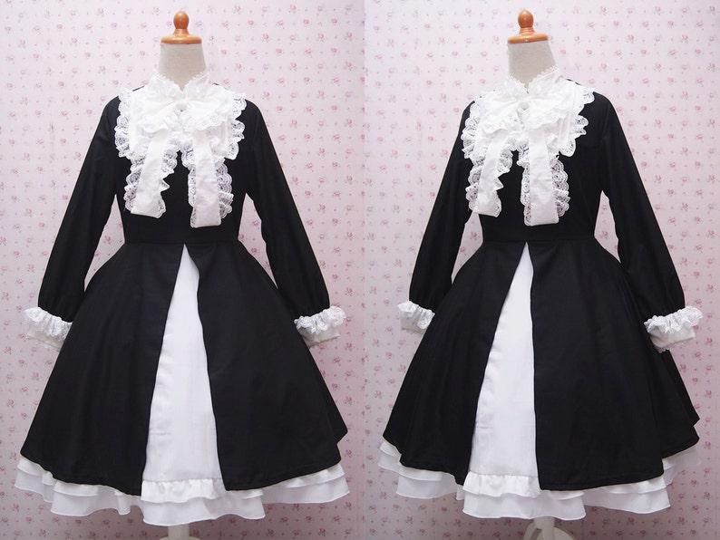 1f83f26af4c28b Elegant zwart en wit lange mouwen stijlvolle Victoriaanse