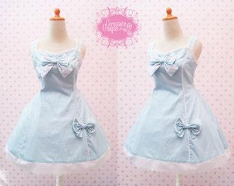 Blue Polkadot Lolita Dress Dress Cotton Big Ribbon - Custom In Your Size Soft Blue White Dot Simple Lolita Theme Dress
