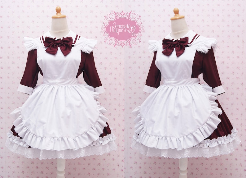 07fc6c89becf Custom in Your Size   Color Two Way Maroon Cotton Maid Dress