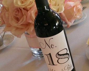 Wine Bottle Table Number Labels - Modern Elegance in your wedding colors