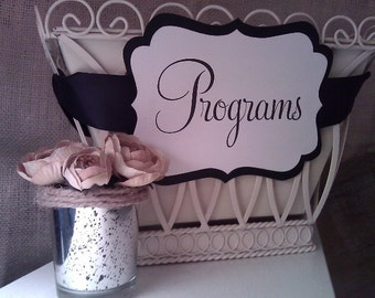 Wedding Programs Sign - Ornate Shaped Sign in your Custom Colors