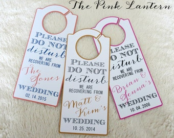 DO NOT DISTURB Personalized Wedding Door Hanger - Custom Colors Available