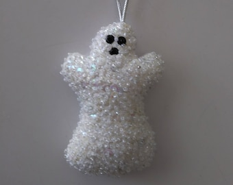 """Handmade Felt and Sequin GHOST Ornament 4""""h x 2 1/2""""w"""