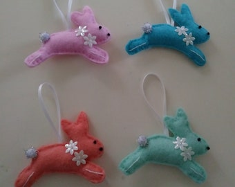 "Handmade Set of 4 Felt Bunny Ornaments 3""w x 2 1/2""h"