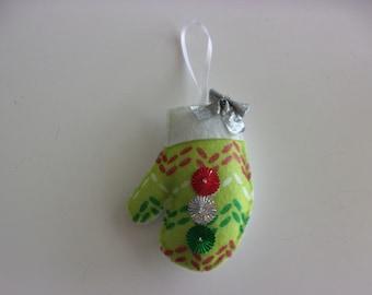 "Handmade Mitten Printed  Ornament 4""hx3'w"
