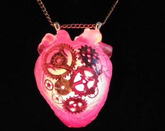 Steampunk Gear Heart Necklace