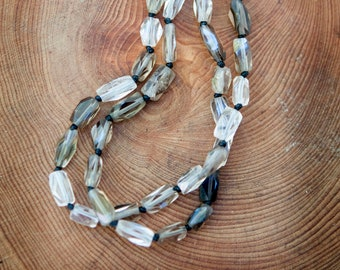 Modern stylish micro macrame faceted smokey quartz bracelet
