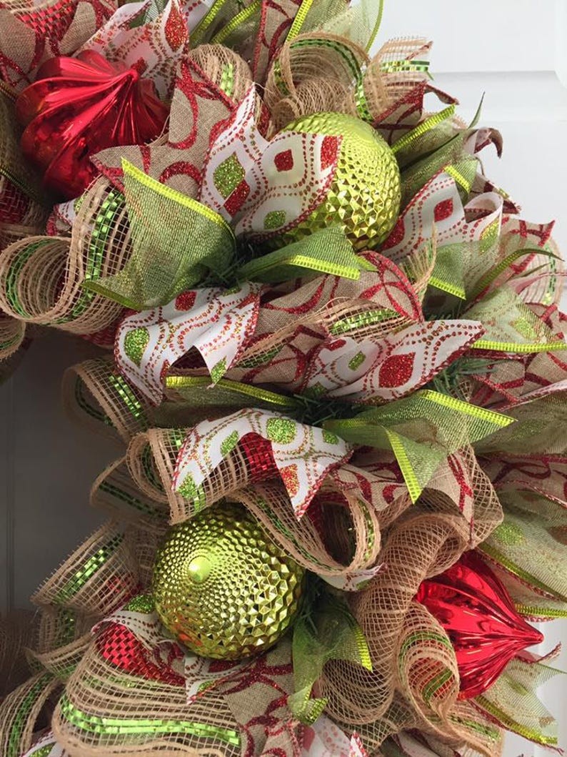 Christmas Wreath Jute Mesh Christmas Ornament Wreath Ornament Wreath,