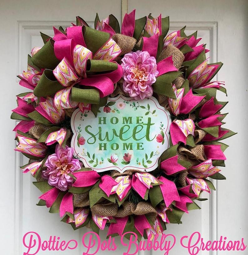 Home Sweet Home Everyday Wreath Home Sweet Home Wreath Home Sweet Home Burlap Wreath