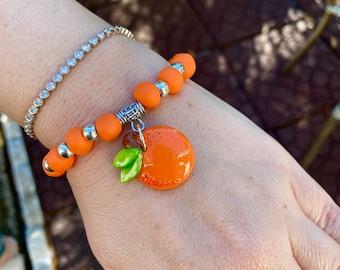Handcrafted Orange Charm Beaded Bracelet
