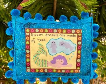 Colorful Cat, Pug, Mermaid & Manatee Decorative Hanging Pillow