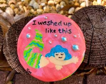 Colorful Hand-Painted Mermaid Travel/Purse Mirror