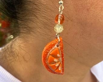 Orange Slice Dangle Earrings