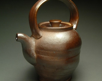 Shiny Metallic Brown Soda Fired Teapot with Brown Liner and Built In Strainer