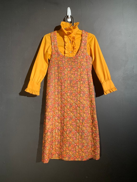 Vintage Quilted Dress and Ruffled Shirt