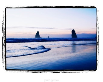 10 x 13 Print Special Ocean Scene Needles Monoliths Near Cannon Beach Oregon Blue with a Hint of Sunrise