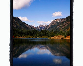 Photo Greeting Card of Scenic Lake View with Mountains and Blue Sky in Snohomish Washington