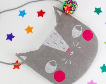 Cat Handbag / Purse Grey