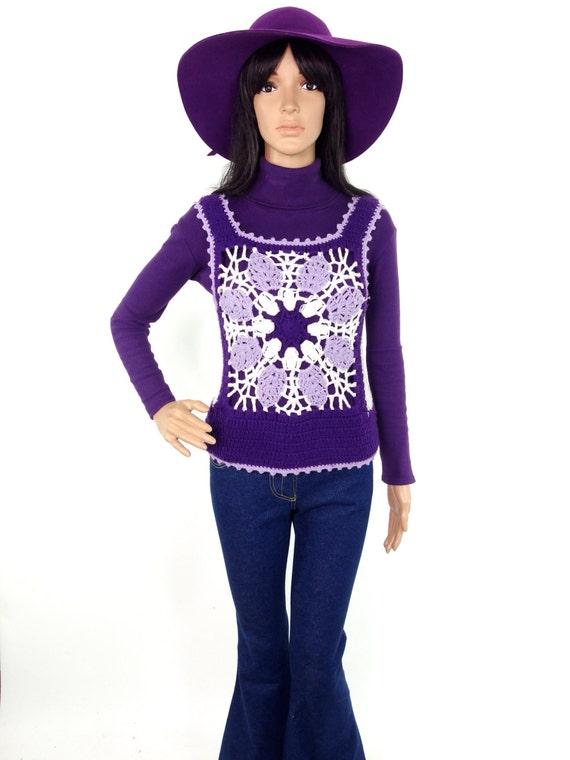 70s Granny Square Crochet Top/ Vest In Purple and