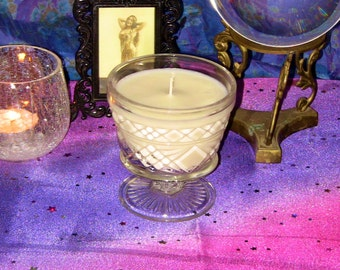 Lemon Verbena Soy Candle in Vintage Crystal Glass Unique Gift Home Decor Kitching Dining