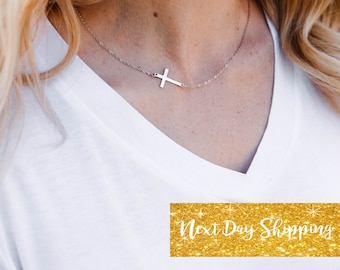 Sideways Cross Necklace Dainty Cross Necklace Baptism Christian Jewelry Christening Gift Sterling Silver 14k Gold Filled or Rose Gold Filled