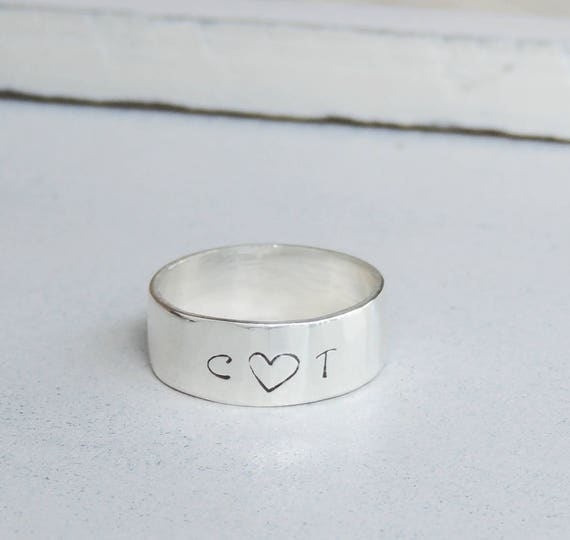 Initial Ring Couples Ring Sterling Silver Ring Girlfriend Gift Etsy