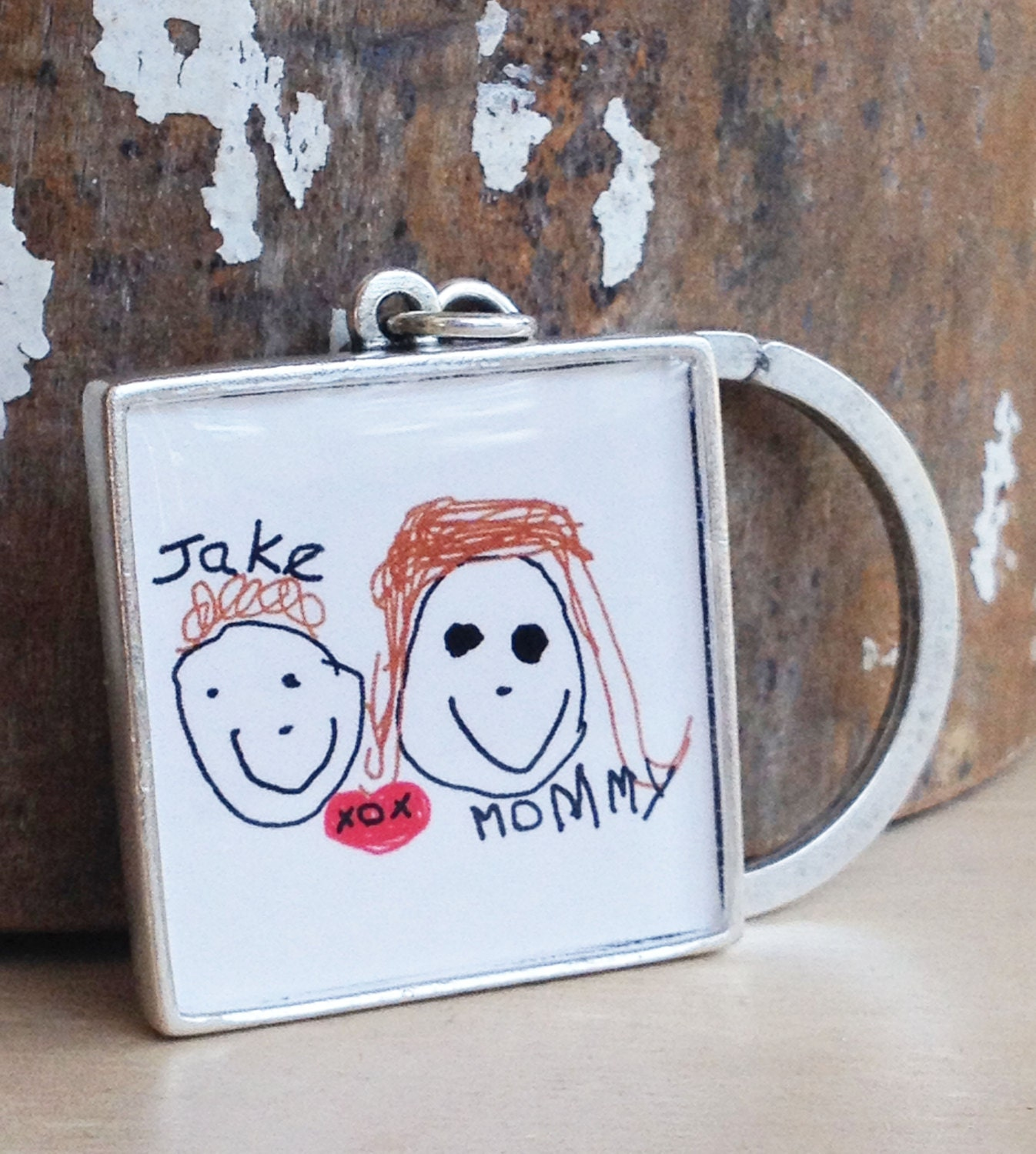 Custom Artwork Keychain - Handwriting Keychain - Kid's Art Display - Child's Artwork - Teacher Gift - Father's Day - Mother's Day