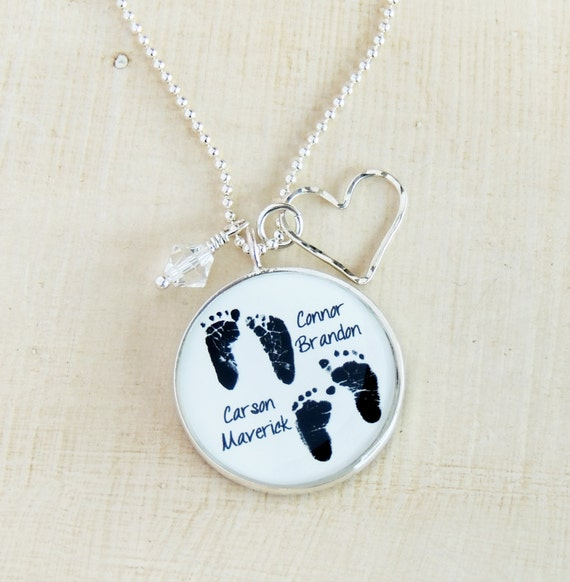 Gift For a New Mom MomBaby Heart Necklace New Mom Necklace 925 Sterling Foot Prints Necklace