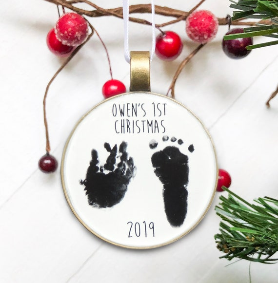Present Tag Stamped Heart Ornament Custom Baby Ornament Baby Gift Custom christmas Ornament Baby christmas Gift christmas Decor