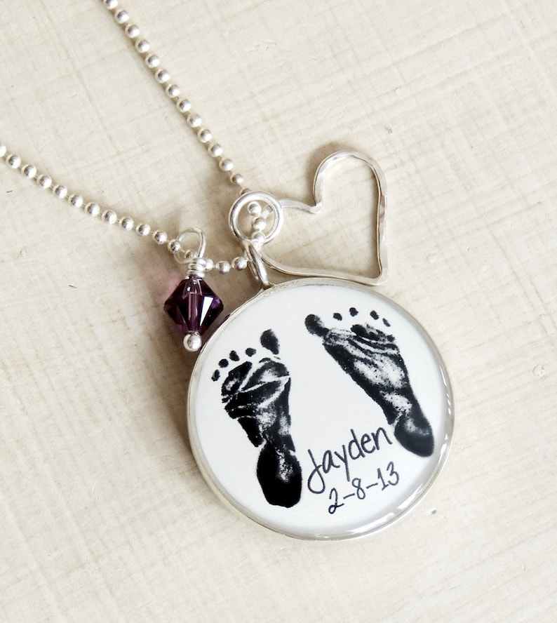 First Mothers Day Mom Necklace Baby Footprint Necklace Double Etsy