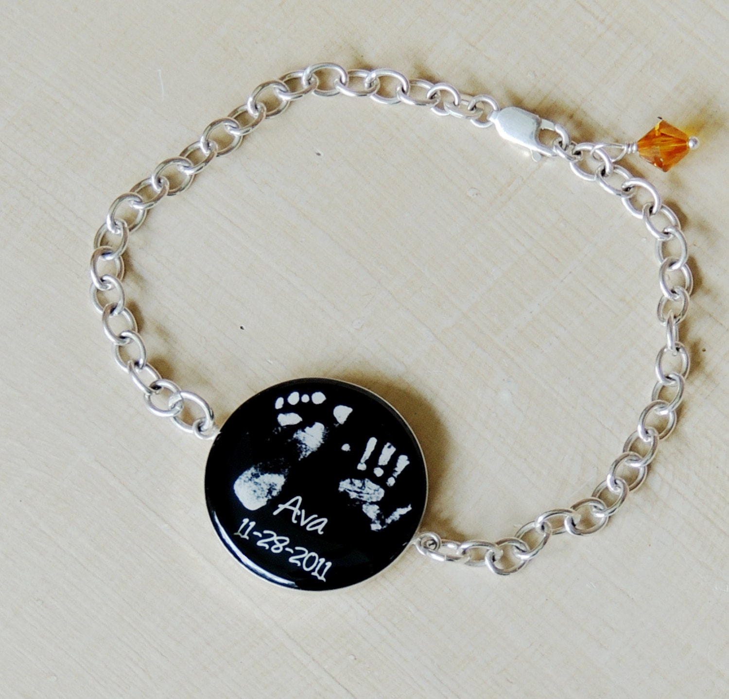 76cf30a5c98f3 Baby Footprint Bracelet in Sterling Silver, First Mothers Day Gift, New Mom  Jewelry, Miscarriage Gift
