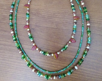 Triple Strand Autumn Necklace